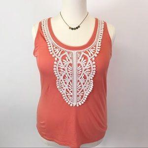 Merona crochet Orange  tank top XXL